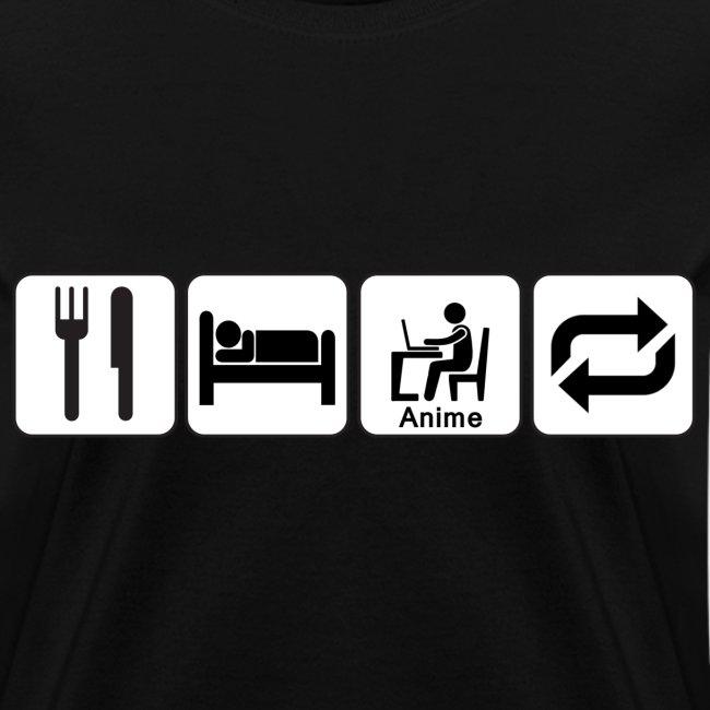 Eat, Sleep, Anime, Repeat Horizontal T-Shirt (Womens)