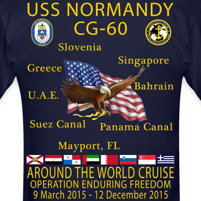 USS NORMANDY AROUND THE WORLD CRUISE 2015 T-SHIRT