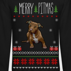Merry Pitmas Puppy Christmas Sweater - Crewneck Sweatshirt