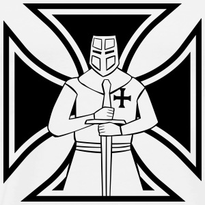 Iron Cross with Templar Knight - Men's Premium T-Shirt
