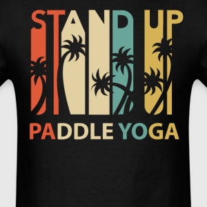 Vintage Retro 1970's Style Stand Up Paddle Yoga - Men's T-Shirt