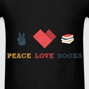 Peace love books - Men's T-Shirt
