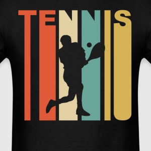 Retro 1970's Style Tennis Player Silhouette - Men's T-Shirt