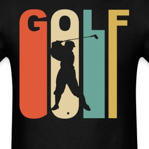Retro 1970's Style Golfer Silhouette Golf - Men's T-Shirt