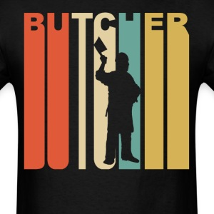 Retro 1970's Style Butcher Silhouette Meat Cutter - Men's T-Shirt