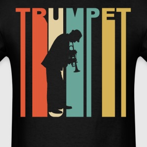 Retro 1970's Style Trumpet Player Silhouette - Men's T-Shirt