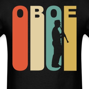 Retro 1970's Style Oboe Player Silhouette - Men's T-Shirt
