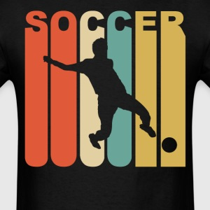 Retro 1970's Style Soccer Player Silhouette - Men's T-Shirt