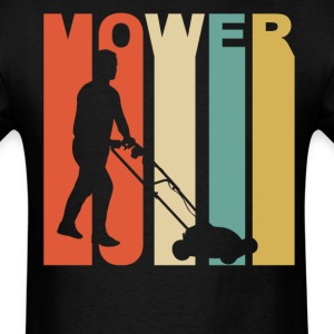 Retro 1970's Style Lawnmower Silhouette - Men's T-Shirt