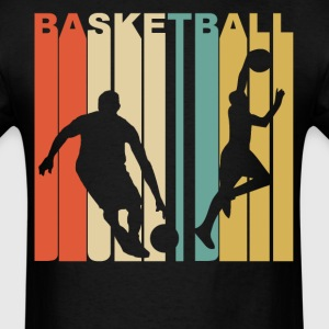 Retro 1970s Style Basketball Players Silhouette - Men's T-Shirt