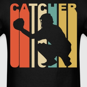 Retro 1970's Style Catcher Silhouette Baseball - Men's T-Shirt