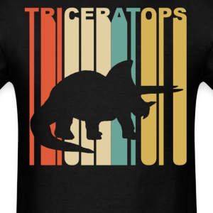 1970's Style Dinosaur Silhouette Triceratops - Men's T-Shirt