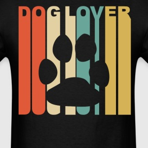 Retro 1970's Style Paw Silhouette Dog Lover - Men's T-Shirt
