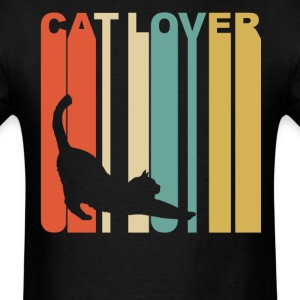 Retro 1970's Style Cat Silhouette Cat Lover - Men's T-Shirt