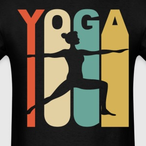 Vintage Warrior Two Yoga Pose Silhouette Retro - Men's T-Shirt