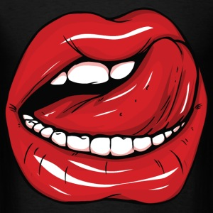 Sexy red lips and tongue - Men's T-Shirt