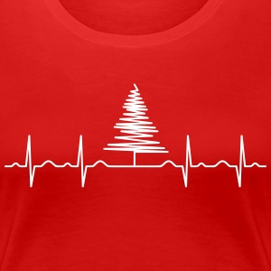 Heartbeat Christmas Tree T-Shirts - Women's Premium T-Shirt