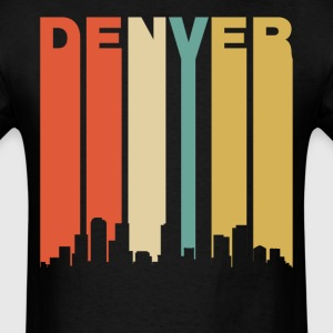 Retro Denver Colorado Cityscape Downtown Skyline - Men's T-Shirt