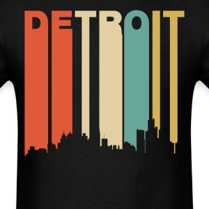 Retro Detroit Michigan Downtown Skyline - Men's T-Shirt