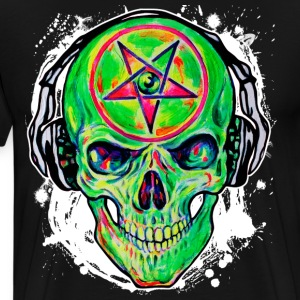 Green Skull Hard Rock DJ Music Star Pentagram Tee - Men's Premium T-Shirt
