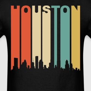Retro Houston Texas Cityscape Downtown Skyline - Men's T-Shirt