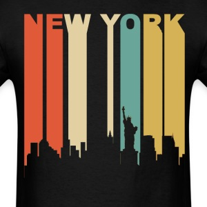 Retro New York City Cityscape Downtown Skyline - Men's T-Shirt