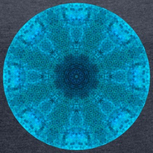 Shades of Blue Mandala - Women's Roll Cuff T-Shirt