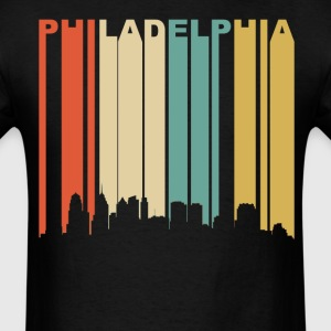 Retro Philadelphia Pennsylvania Downtown Skyline - Men's T-Shirt