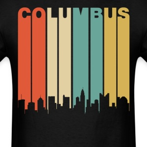 Retro Columbus Ohio Cityscape Downtown Skyline - Men's T-Shirt