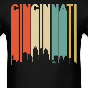 Retro Cincinnati Ohio Cityscape Downtown Skyline - Men's T-Shirt