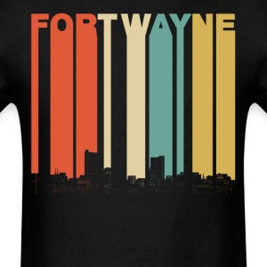 Vintage 1970's Style Fort Wayne Indiana Skyline - Men's T-Shirt