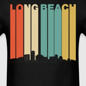 Retro Style Long Beach California Skyline - Men's T-Shirt