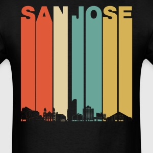 Vintage 1970's Style San Jose California Skyline - Men's T-Shirt