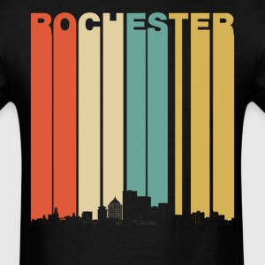 Vintage 1970's Style Rochester New York Skyline - Men's T-Shirt