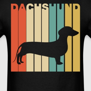 Retro Style Dachshund Silhouette Dog Owner - Men's T-Shirt