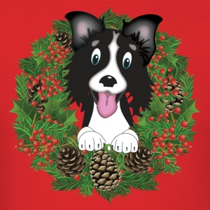 Border Collie in Wreath T-Shirts - Men's T-Shirt