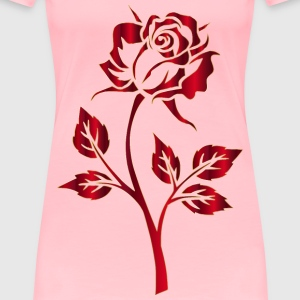 Crimson Rose Silhouette No Background - Women's Premium T-Shirt