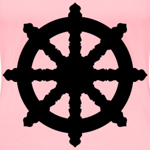 Ornate Dharma Wheel Silhouette - Women's Premium T-Shirt
