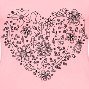 Black Floral Heart - Women's Premium T-Shirt