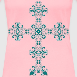 Vintage Floral Design Mark II Cross - Women's Premium T-Shirt