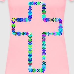 Floral Cross Outline - Women's Premium T-Shirt