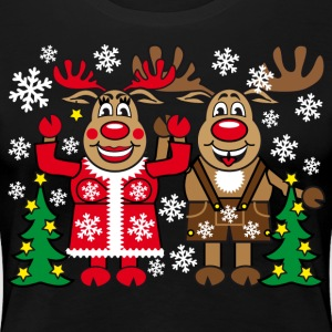 Funny Family Team Reindeer Deer Rudolph Xmas Party - Women's Premium T-Shirt