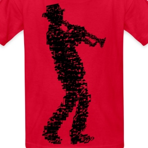 trumpet player made of notes_09201604 Kids' Shirts - Kids' T-Shirt