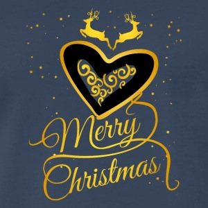 Merry Christmas Glamour Gold dream Heart reindeer - Men's Premium T-Shirt