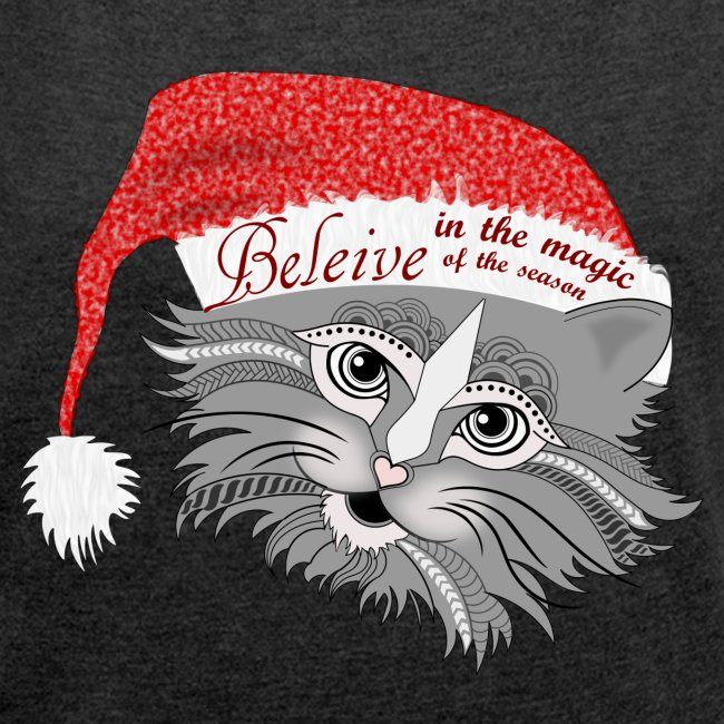 Christmas Kitty Women´s Rolled Sleeve Boxy T-Shirt from South Seas Tees
