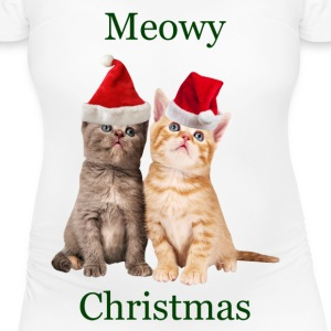 Meowy Christmas Kitten Maternity Shirt - Women's Maternity T-Shirt