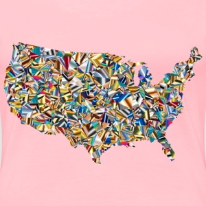 Psychedelic Low Poly America USA Map - Women's Premium T-Shirt