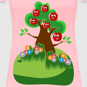 Anthropomorphic Happy Apples Tree - Women's Premium T-Shirt