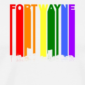 Fort Wayne Indiana Skyline Rainbow LGBT Gay Pride - Men's Premium T-Shirt
