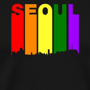 Seoul South Korea Skyline Rainbow LGBT Gay Pride - Men's Premium T-Shirt